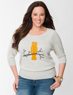 5e9755e9e29 Owl Graphic Sweater by Lane Bryant