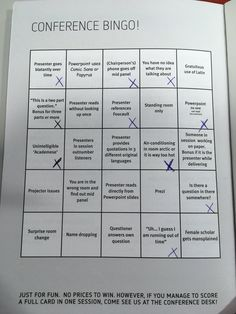 Give a bingo card as your conference evaluation!