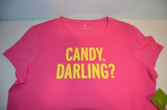 NWT Sz L KATE SPADE WOMEN'S SHORT SLEEVE GRAPHIC TEE-CANDY DARLING-PINK #GraphicTee