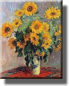 Vase of Sunflowers Painting Picture by Monet on Stretched Canvas, Wall Art Decor, Ready to Hang!