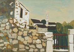 Georges Borgeaud - Le Mur, 1976 - Gouache sur papier, 43x61 cm. Gouache, Painting, Wall, Paper, Auction, Painting Art, Paintings, Painted Canvas, Drawings