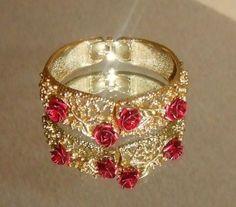 707-Vintage-Textured-Gold-Tone-Filigree-Red-Metal-Rose-Clamper-Bracelet