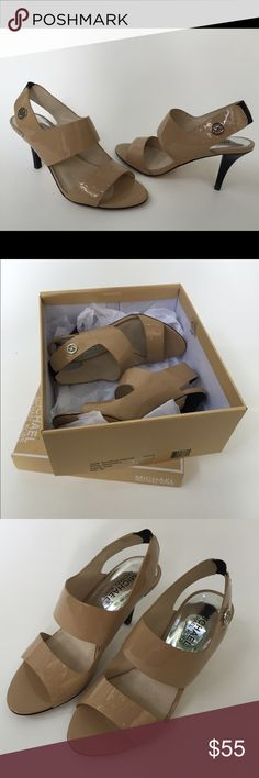 "Michael Kors nude patient leather heel Michael Kors Nude Patient leather heel. Size 5, 3.25"" heel logo detail, open toe.  Slightly worn to wedding.  Box and packing materials included.  $55.00. MINT CONDITION Michael Kors Shoes Heels"