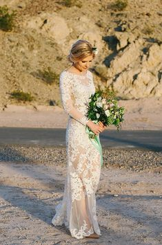 Boho-chic wedding dress idea - fitted lace illusion wedding gown {Wedion Photography}