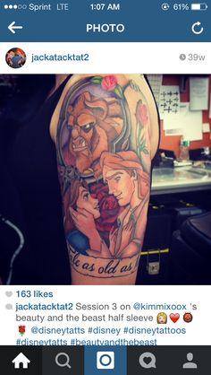 Disney Beauty and The Beast half sleeve tattoo