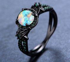 Black Gold White Fire Opal Ring #luxuryjewelry