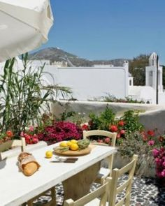 Mansion Sophia  ( Santorini, Greece )  Have a casual meal alfresco. Chef services and refrigerator stocking are available (for a fee). #Jetsetter #JSVolcano