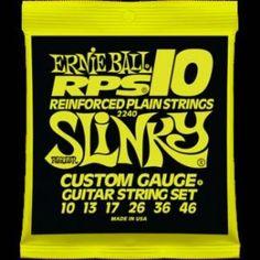 Ernie Ball – 2240 – RPS 10 Regular Slinky. Corde plain RPS con rinforzo in bronzo. Avvolgitura in acciaio nichelato. Scalatura .010-.013-.017-.026-.036-.046