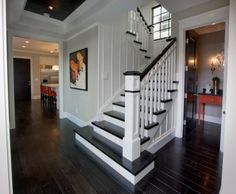 Entry Hall, Stairs and Powder Bath - traditional - staircase - orange county - Details a Design Firm Black And White Stairs, White Staircase, Staircase Railings, Wood Stairs, Staircases, Staircase Ideas, Painted Stairs, Black White, White Walls