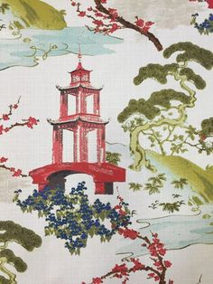 A modern chinoiserie fabric featuring Asian scenery. This fabric is a medium weight and is suitable for upholstery, window treatments, bedding, and pillows.