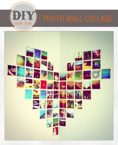 photo wall collage - gather pictures of the past years memories and make a heart shaped photo wall for your lover.