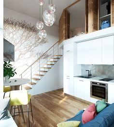 Kleines Studio Apartment In Moskau Mit Loft Schlafzimmer Casa Loft, Loft House, Style At Home, Lofts, Small Loft Apartments, Studio Apartment Layout, Apartment Ideas, Apartment Living, Living Room