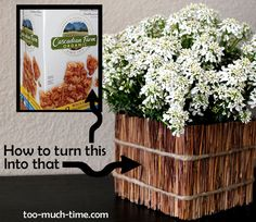 Cover a repurposed cereal box with twigs to craft a cute rustic planter.