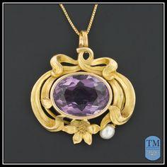 Art Nouveau 14k Gold Amethyst & Pearl Necklace