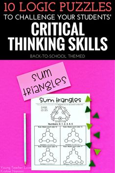 10 Logic Puzzles to Challenge Your Students' Critical Thinking Skills - Young Teacher Love by Kristine Nannini - Check out all these great logic puzzle ideas for your or grade upper elementary or middle school students. 5th Grade Classroom, Middle School Classroom, 2nd Grade Math, Math Class, Third Grade, High School, Critical Thinking Activities, Critical Thinking Skills, Math Logic Puzzles