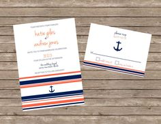 Navy Coral Modern Stripes & Anchor Nautical Wedding Invitation with Coordinating Lined Envelopes