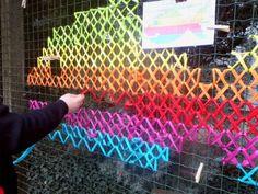 Urban X-Stitch: Street Artist Cross-Stitches Yarn on Fences