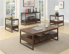 Brown Wood Metal Coffee Table Set w/Lower Shelf