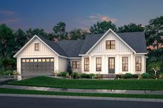 Modern farmouse with open floor plan - Luxurious master suite - Outdoor entertaining space - Two car garage - Oversized pantry with desk space - Kitchen features large island with eating bar Porch House Plans, Cottage Style House Plans, Simple House Plans, Open House Plans, House Plans One Story, Craftsman Style House Plans, Cottage House, Simple House Exterior, Retirement House Plans