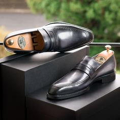 Paul Parkman Gray Burnished Goodyear Welted Loafers   Website: www.paulparkman.com
