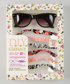 Look at this #zulilyfind! Black Floral Zebra Snap-On Sunglasses Set by Eye Design #zulilyfinds