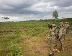 U.S. Army Pvt. Joseph Morales, a cavalry scout assigned to Pale Horse Troop, 4th Squadron, 2nd Cavalry Regiment fires a Javelin Anti-Tank Missile down range as his team watches during Saber Strike 16 in Tapa, Estonia.