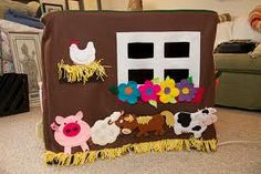 card table playhouse- the farm animals are wonderful
