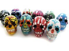 10 Large Sugar Skull Beads - ceramic, skull, skulls, peruvian, day of the dead, dia de los muertos, halloween - LG639 on Etsy, $12.00