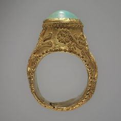 "//Beautiful granulation in Persian Ring, 13th century. gold, turquoise; 1 3/8"" D Museum of Art Rhode Island School of Design. Gift of Mrs. Murray S. Danforth. Photography by Erik Gould."