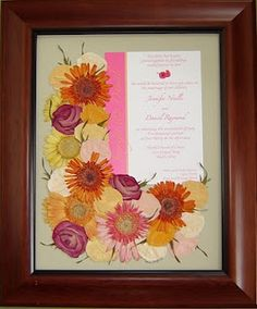 Preserve your wedding bouquet with an invitation or program.