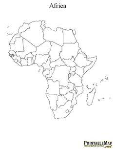 White outline printable Africa map with political