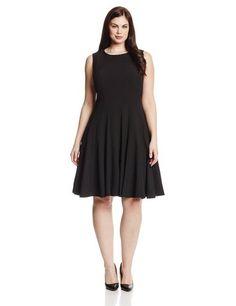 Calvin Klein Women s Sleeveless Solid Flare Seamed Petite Dress