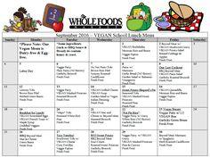 september school lunch menu (vegan)