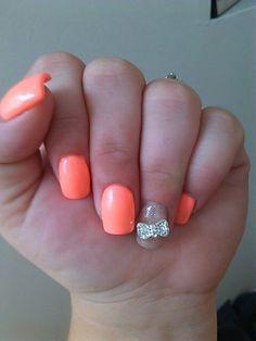 Orange nails with a silver bow Great Nails, Love Nails, How To Do Nails, Nail Designs 2014, Cool Nail Designs, Simple Designs, Peach Nails, Orange Nails, Sexy Nails
