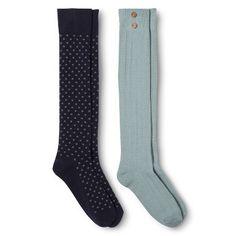 Women's Knee High Socks Blue Dots/Knit 2-Pack - Merona® from Target Online