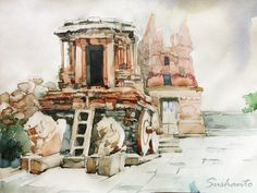 Hampi 2013 in watercolor by Sushanto