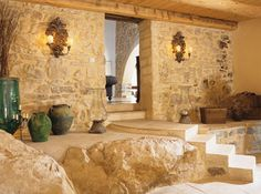 Terrace Stone Decorating And Classic Wall Lamps In Traditional Rustic House Design In France home trends design photos, home design picture at Home Design and Home Interior Classical Interior Design, Stone Interior, Beautiful Interior Design, Office Interior Design, Interior Decorating, Interior Ideas, Country House Design, Rustic Home Design, French Country House