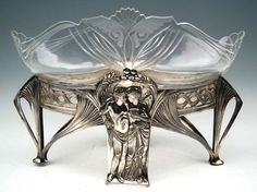 Wmf Art Nouveau Flower Dish JardiniÉre Silver-plated Original Glass Liner C.1900 | From a unique collection of antique and modern centerpieces at https://www.1stdibs.com/furniture/dining-entertaining/centerpieces/