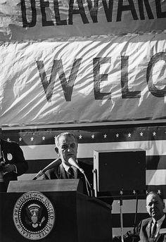 President Lyndon B. Johnson addresses campaign rally, Wilmington, Delaware.  October 31, 1964.