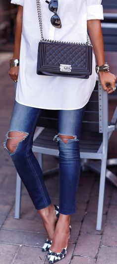 White shirt and skinny jeans