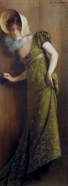 Elegant Woman In A Green Dress by Pierre Carrier-Belleuse, 1901