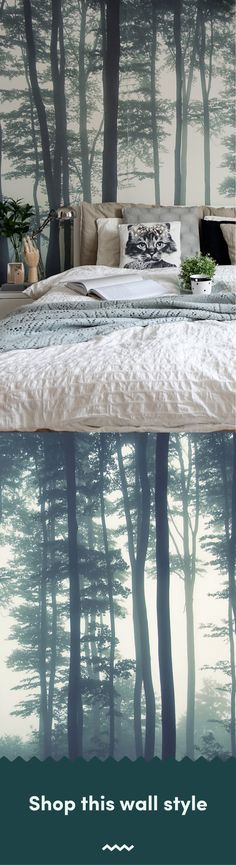 The Sea of Trees forest wallpaper by MuralsWallpaper has been styled here by a customer as part of a cosy, green and neutral bedroom look. We love the colours and Hygge vibes! Great inspiration for your own bedroom decor. Scandi Wallpaper, Scandinavian Wallpaper, Forest Wallpaper, Wallpaper Murals, Tree Wallpaper, Wall Murals, Wood Bedroom, Bedroom Ideas, Bedroom Decor