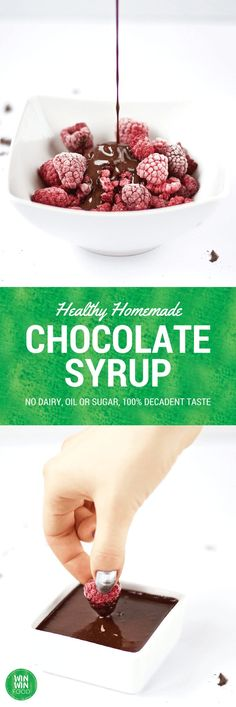 Healthy Homemade Chocolate Syrup   WIN-WINFOOD.com Chocolatey decadence without…