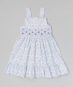 Look at this White Floral Smocked A-Line Dress - Infant, Toddler & Girls on #zulily today!