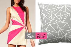 wear this Ringspun dress, decorate with that Muovo pillow. Pink Grey, Grey And White, Hot Pink, Gray, Triangles, Color Patterns, Magenta, Fashion Models, Cushion