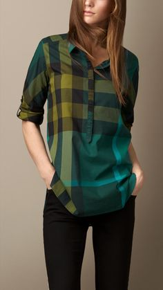Burberry Check Cotton Tunic in Yellow (bright forest green)