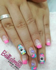 Uñas l Luv Nails, Fingernails Painted, Heart Nail Art, Disney Nails, Stylish Nails, How To Do Nails, Pedicure, Nail Art Designs, Hair Beauty
