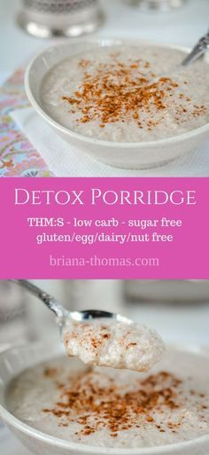 Detox Porridge...it's healthy, full of fiber, Trim Healthy Mama friendly (S), low carb, sugar free, and gluten/egg/dairy/nut free! #glutenfree #detox