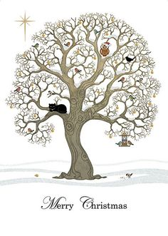 Christmas Oak - christmas card design by Jane Crowther, Bug Art
