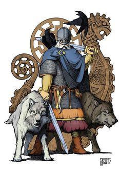 Odin with Freki, Geri, Hugin, and Munin. Cool viking art. https://vk.com/wall-56794657?offset=80